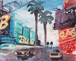 Las Vegas Straße Taxi Palmen