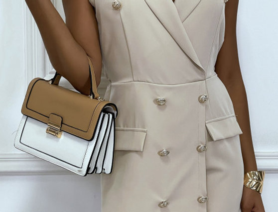 Combishort jupe-culotte beige