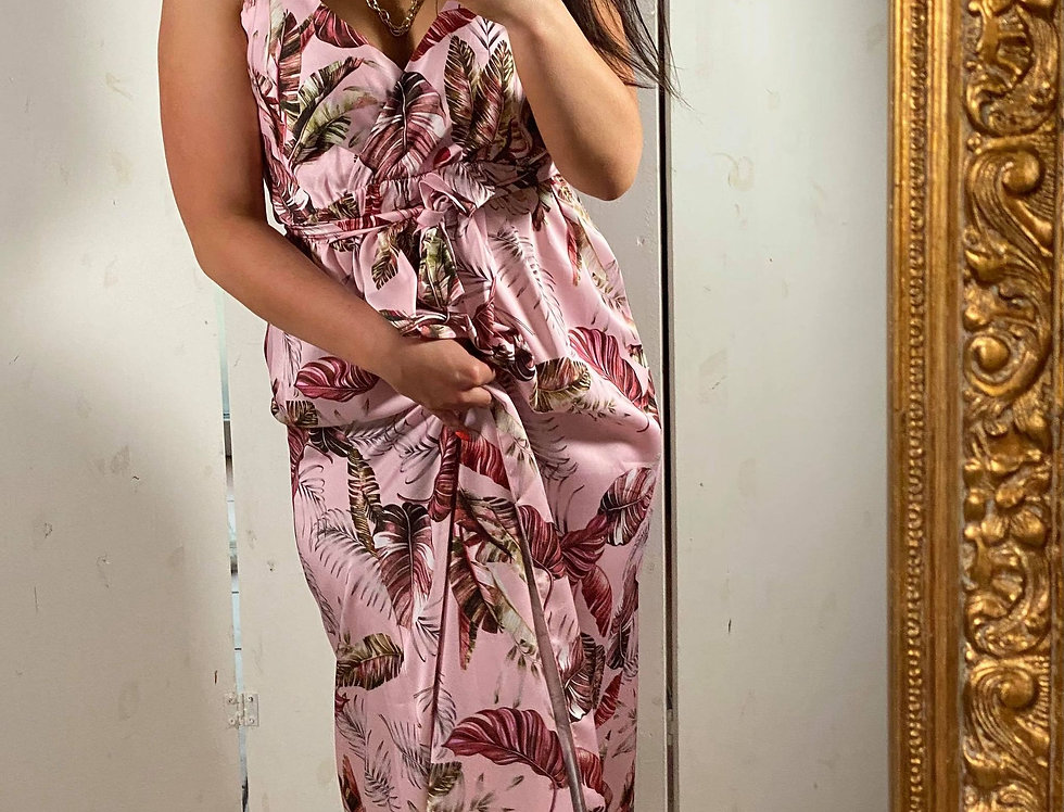 Robe longue rose motif feuille