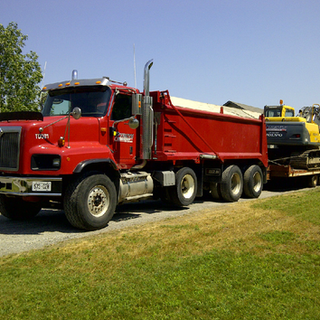 Truck and Backhoe