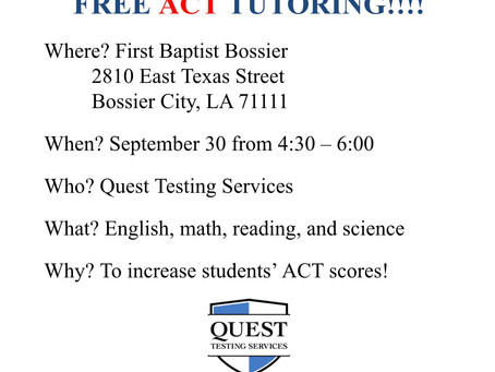 Free ACT Tutoring Opportunity