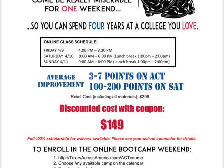 Online ACT/SAT Prep Camp, April 9-11