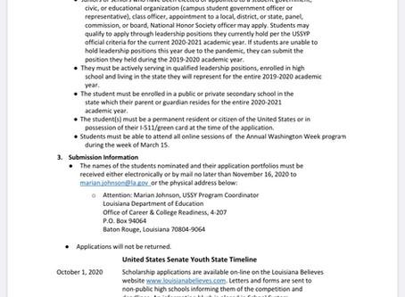 U.S. Senate Youth Scholarship Opportunity