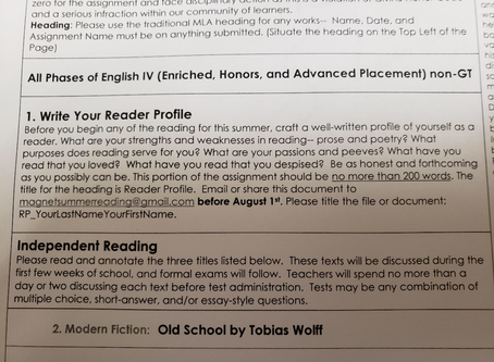 Reader Profiles due August 1st