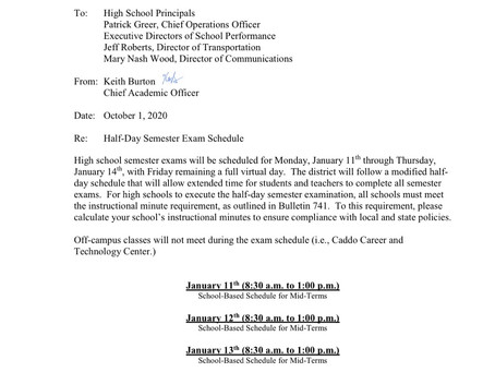 Mid-term exam schedule