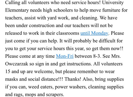 Service Hour Opportunity at University Elementary