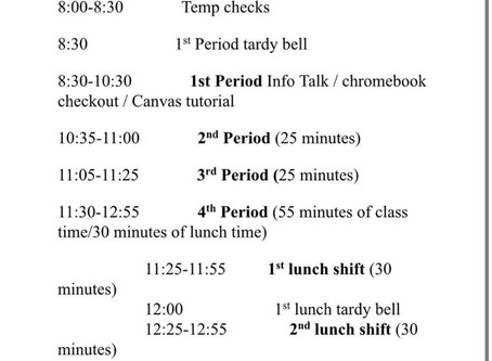 Schedule for Monday and Tuesday
