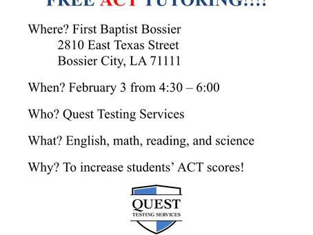 Free ACT Tutoring on Wednesday