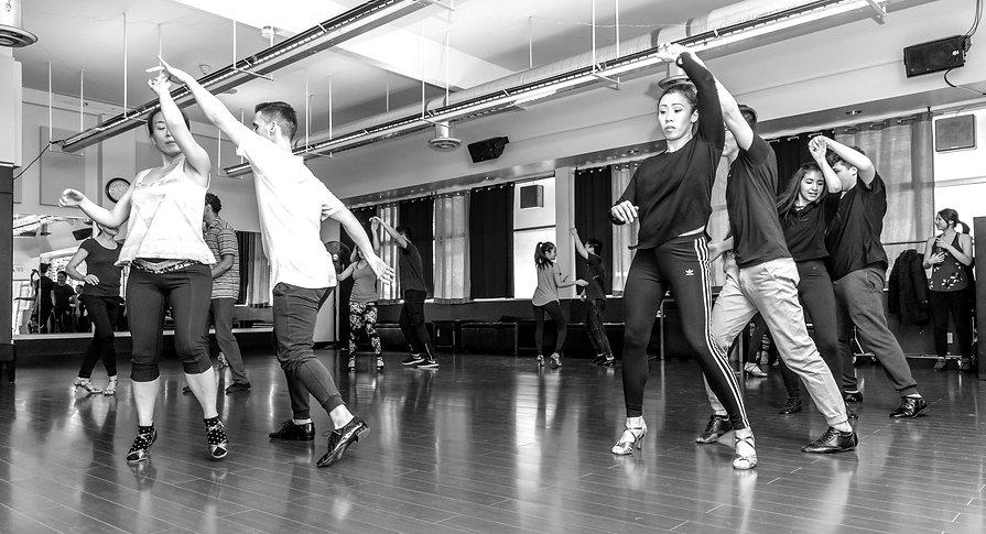 Salsa dancers training hard