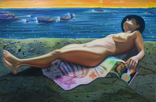 Maria Do Céu, Hilma and Frida, 2019 Oil on Canvas 48 x 72 in