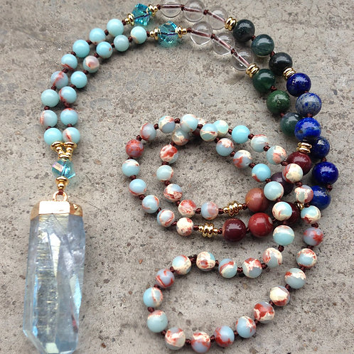 Beautiful Multi Color Quartz Beaded  Necklace