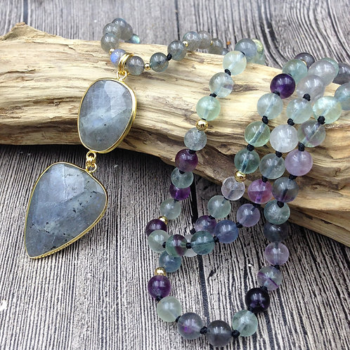 Labradorite Multi Color Beaded Necklace