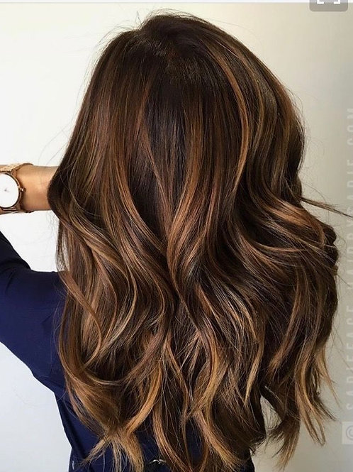 Brown Rooted Caramel Hair Topper
