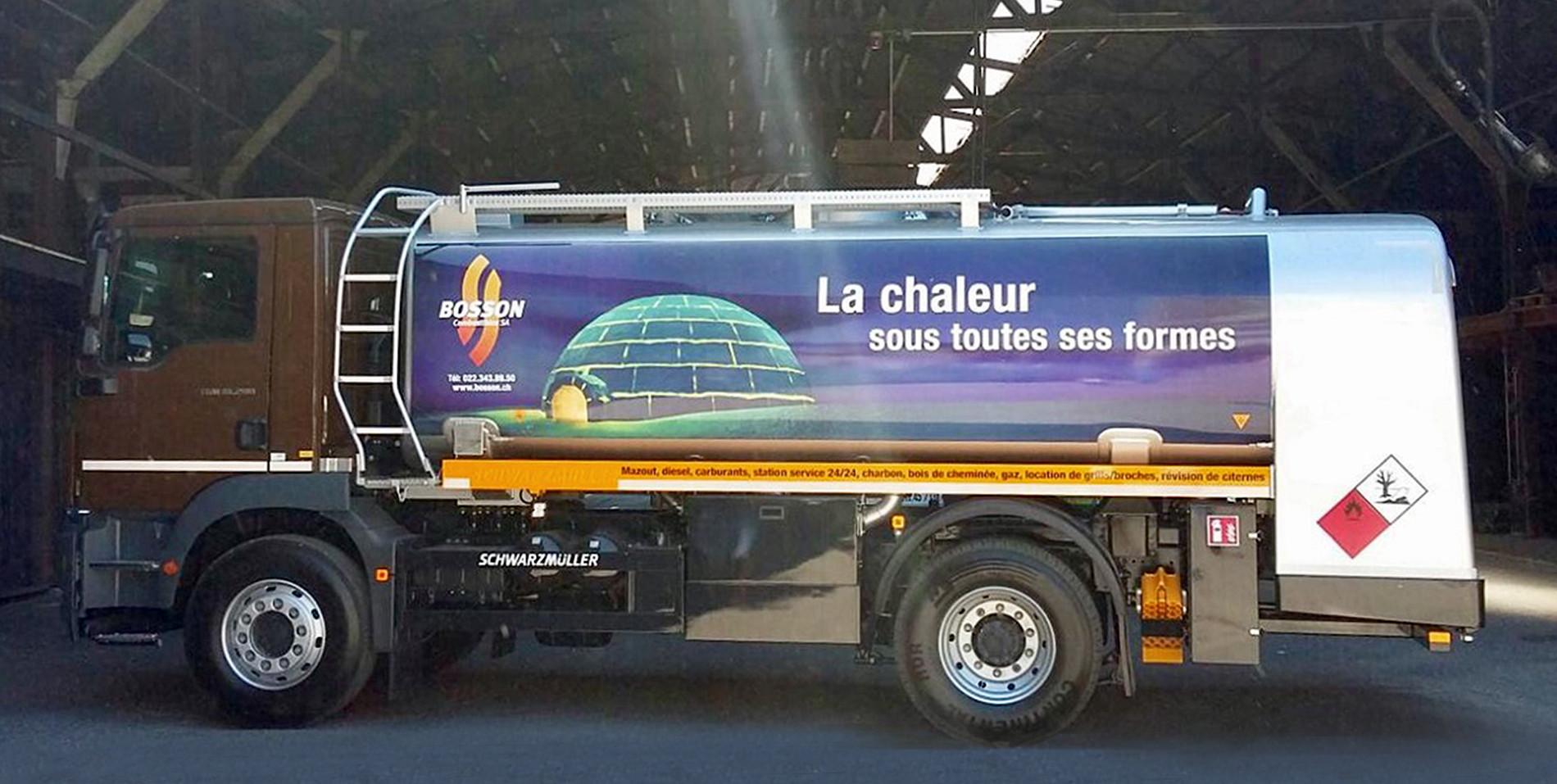 Bosson Combustibles     habillage des camions citerne