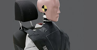 A crash test dummy with an impact sensor on its chest under a seatbelt to measure pressure of the seatbelt during an impact.