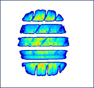 2D data visualization of a vehicle tire showing different levels of pressure distribution within the tire and tread design.