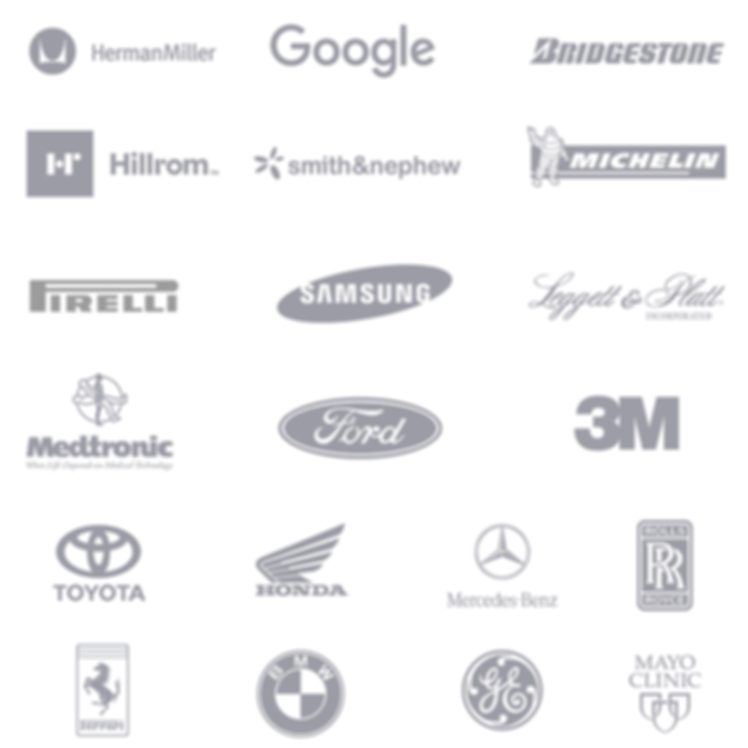 Logos of XSENSOR's global clients and customers from different applications, markets, and verticals.