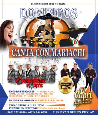 Los Domingos Canta con el Mariachi en Vivo en El Capri regístrate y participa, puedes ganar ¡Premios