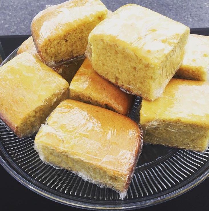 Pieces of BelleJohns' cornbread