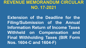EXTENDED DEADLINE: Filing/submission of BIR Form 1604-C & 1604-F extended to February 28, 2021