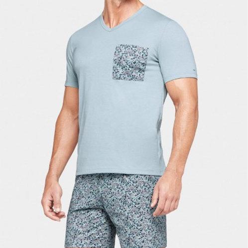 pyjama bleu gris fleuri