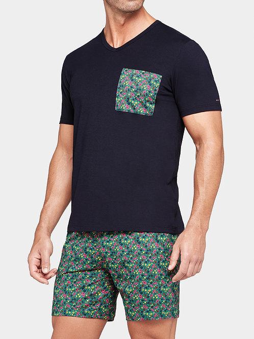 pyjama marine et vert fleuri