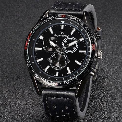 V6 V0270 BLACK FACE Quartz Watch Black Leather Band/Black Face