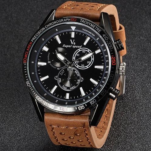 V6 V0270 BLACK FACE Male Quartz Watch Tan Leather Band/Black Face