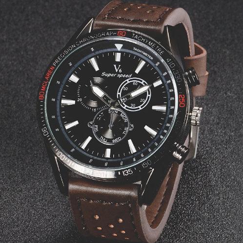 V6 V0270 BLACK FACE Male Quartz Watch Brown Leather Band/Black Face
