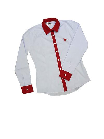 0f3e7f90f9 Camisa Social Feminina Branca com Vermelho
