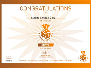 Stirling Netball Club Awarded Bronze Thistle Mark