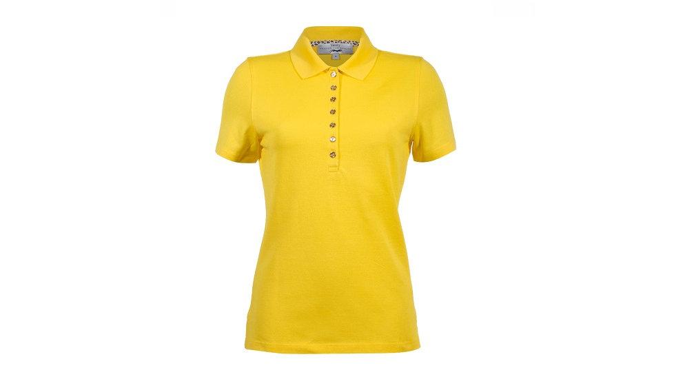 Vanity - Dames golfpolo geel met goud kleurige knopen en dierenprint