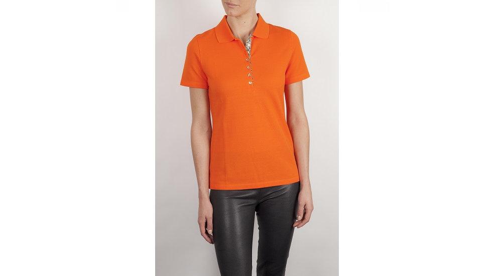 Vanity - Dames golfpolo oranje met goud kleurige knopen en dierenprint