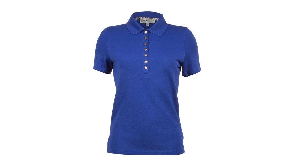 Vanity - Dames golfpolo blauw met blauwe knopen en dierenprint