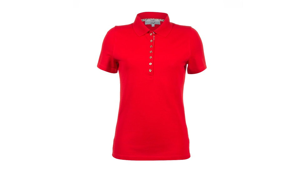Vanity - Dames golfpolo rood met goud kleurige knopen en dierenprint