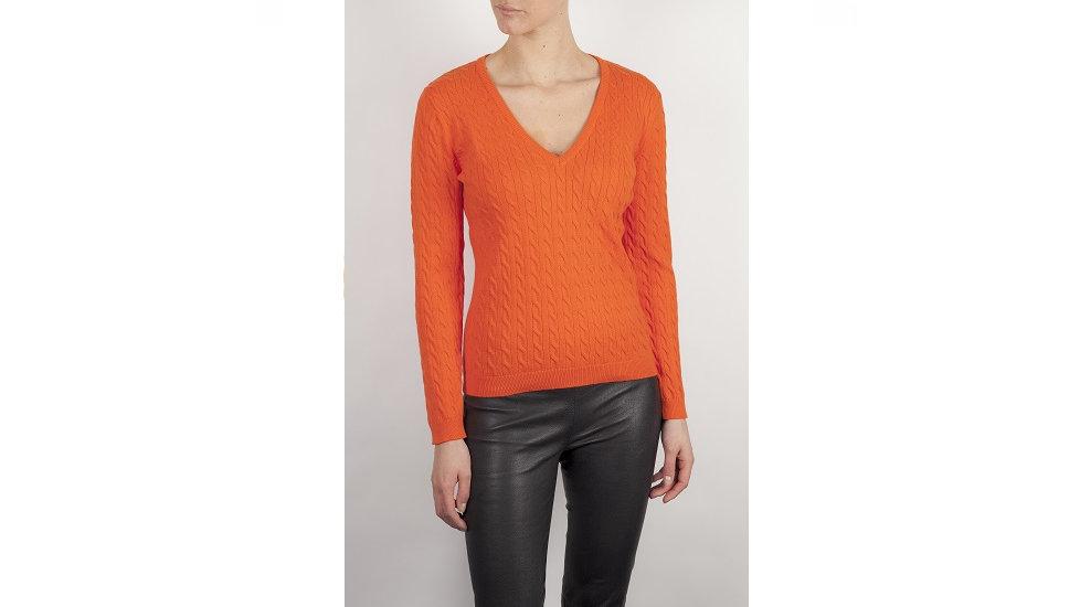 Vanity - Dames kabeltrui oranje