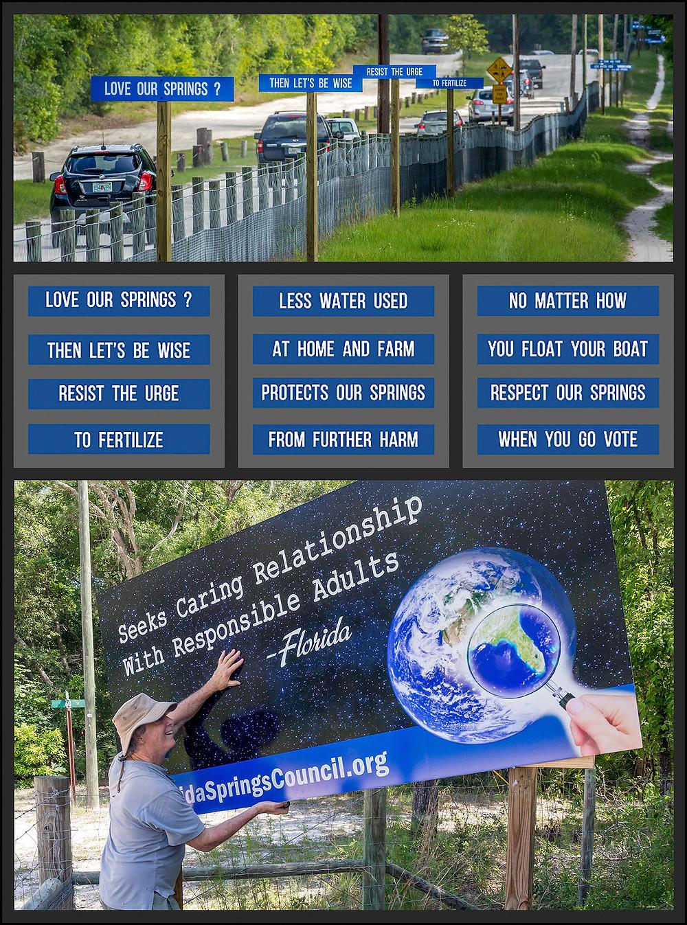 Springs visitors drive past rhyming springs education signs