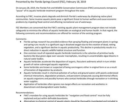 FSC position on aquatic herbicides