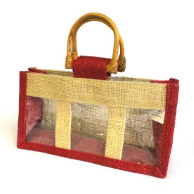 Panière Cadeau en Jute Panière  - Couleur rouge
