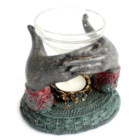 Bouddha Antique - Brûleur Huile Mains offrantes