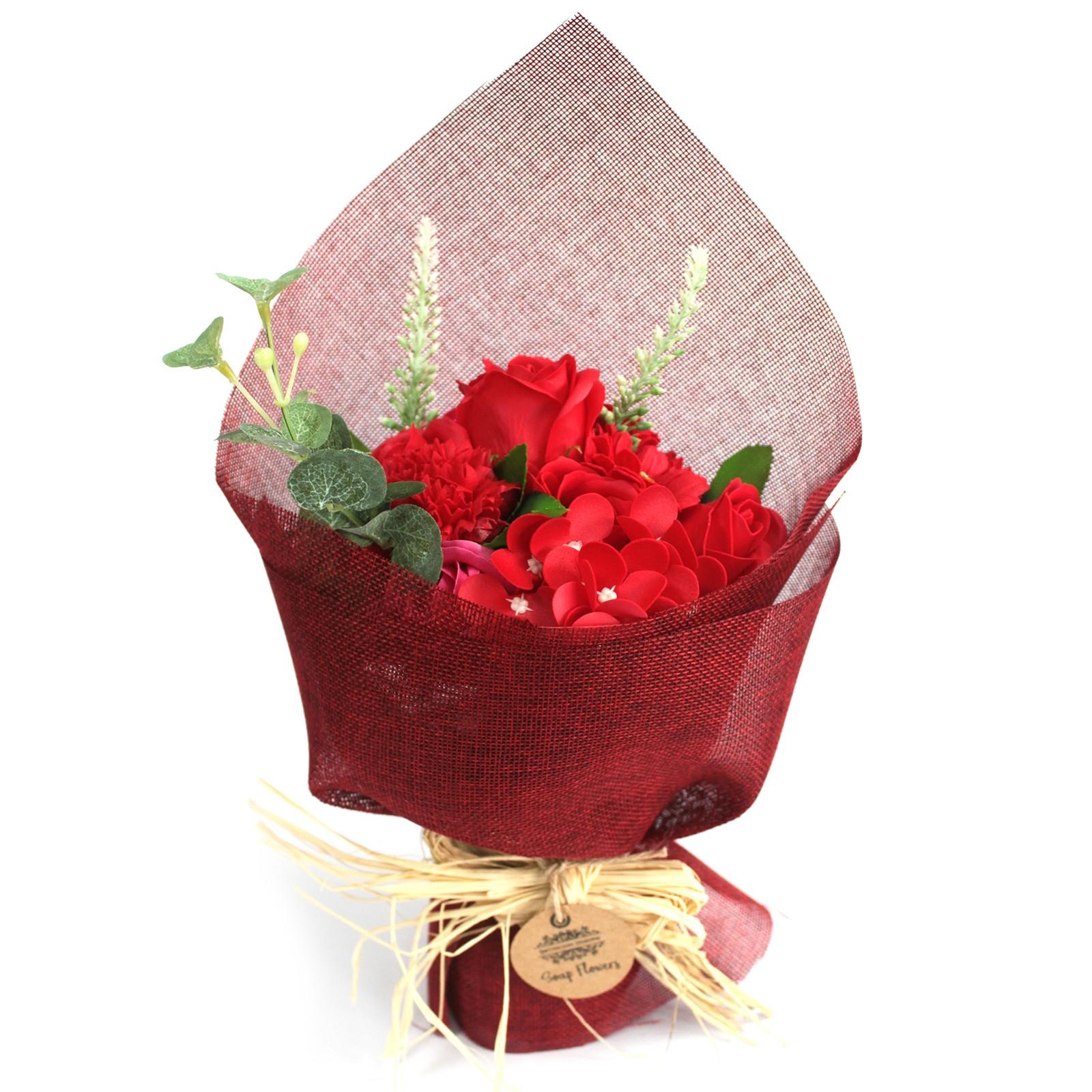 bouquet de fleur de savon rouge