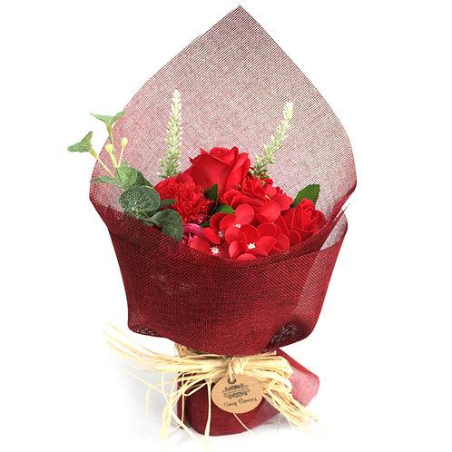 Bouquet de fleurs de savon- Rouge
