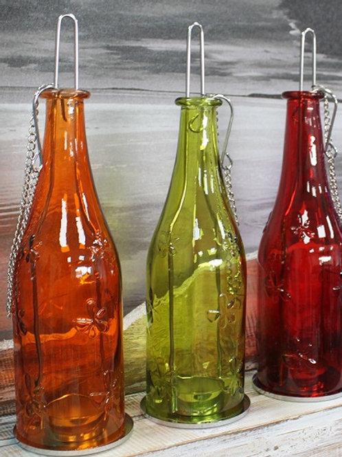 Lanterne en Bouteille Recyclée - Ambre, rouge, ou jaune
