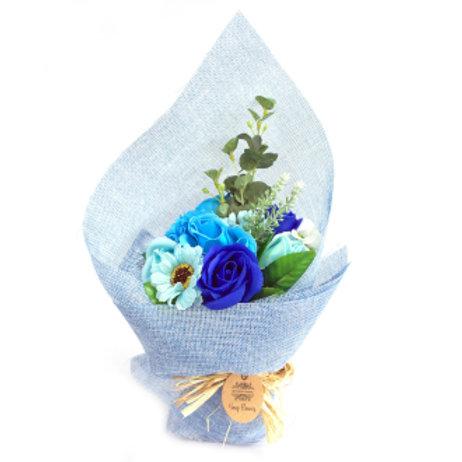 Bouquet de fleurs de savon - Bleu