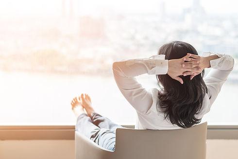 Life-work balance concept with woman tak