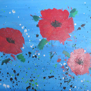 ABSTRACT POPPIES ON BLUE