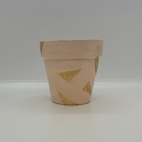 Golden triangles to make your plants pop in this 3 inch terra cotta pot