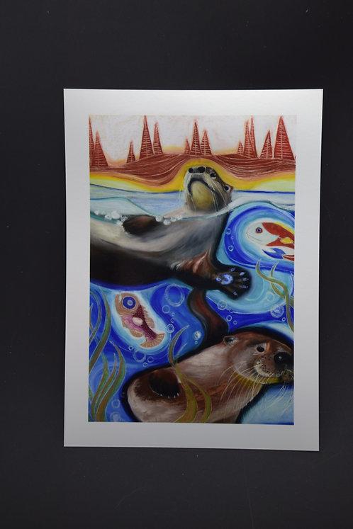 Playful Otters: Original prints from International Artist Christina Ward