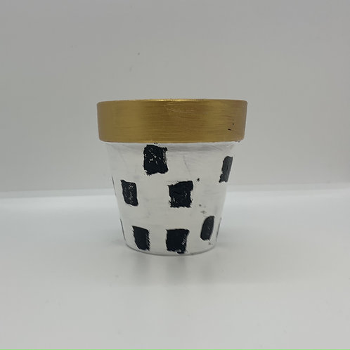 Checkered with bling - 3 inch terra cotta one of a kind pot