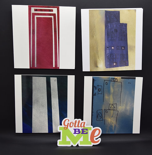 4 MORE Original Elevator Painting Cards by artists Benjamin Bond